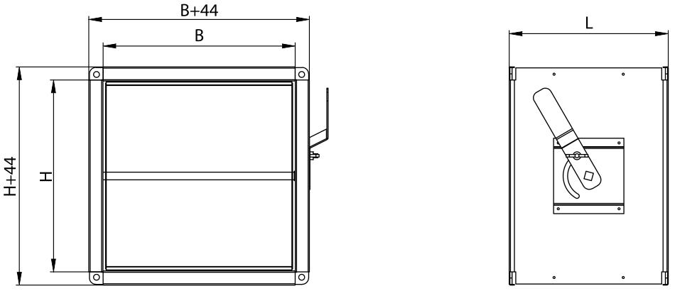 Заслонка дроссельная, прямоугольное сечение 400х615