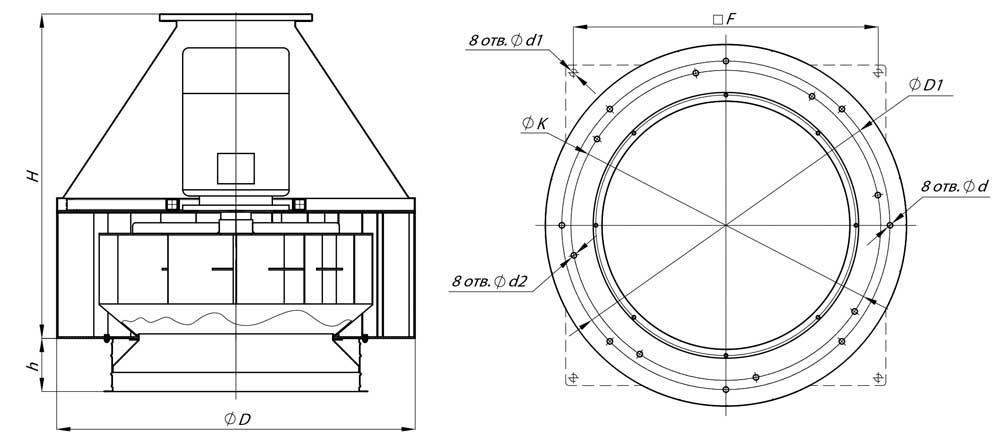 Конструкция Крышного вентилятора ВКР