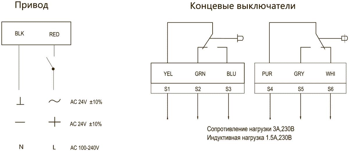shema_soedineniy_privoda_dastech_FR_05N_protivopojarnogo_klapana